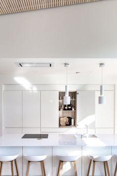Open Plan Kitchen Living Room, Kitchen Dining, Flat Interior, Interior Design, Apartment Kitchen, Home Kitchens, Kitchen Remodel, Sweet Home, Room Decor