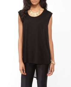 High-Low Sheer Back Cap Sleeve Top | FOREVER21 - 2017307795