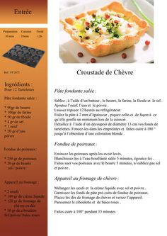 Croustade_de_chevre_copie Tupperware Recipes, Cooking Cake, English Food, Looks Yummy, Mini Cakes, Entrees, Buffet, Brunch, Food And Drink