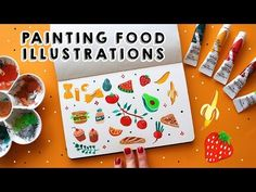 In this week's video I am painting my very first This is actually the illustration i did for the August Wallpaper for my patron. August Wallpaper, Speed Paint, Food Illustrations, Make It Yourself, Drawings, Easy, Youtube, Painting, Painting Art