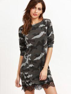 модное платье с камуфляжным принтом с кружевной вставкой