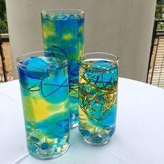 DIY Blue & Gold Wedding Reception: magic growing jelly balls for a DIY vase centerpiece #PreppyPlanner