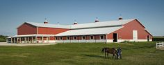 66 stall horse barn with indoor riding arena | Hampshire, Illinois | FBi Buildings