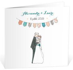 Faire part mariage élégant avec ses illustrations romantiques aux couleurs pastels, ref