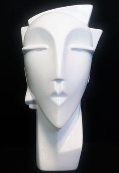 Art Deco MYNG Sculpture Head Bust Pottery Lindsey B Balkweill Era Eames Mod VASE