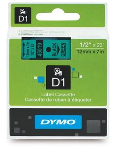 DYMO High-Performance Permanent Self-Adhesive D1 Polyester Tape for Label Makers, 1/2-inch, Black Print on Green, 23-foot Cartridge (45019) DYMO