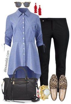Plus Size Hi-Lo Shirt Outfit - Plus Size Fall Work Outfit Ideas - Plus Size Fashion for Women - alexawebb.com #alexawebb-