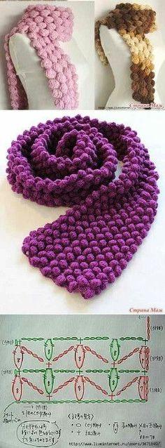 Puff Crochet Stitch Scarf - Free Crochet Diagram - (graficosereceitas.wordpress)* ༺✿ƬⱤღ http://www.pinterest.com/teretegui/✿༻
