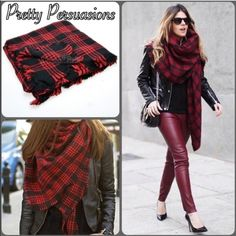 """NWT Red Plaid Fringe Frayed Wrap Scarf NEW Plaid Blanket Scarf Wrap  Available in red plaid & multicolored plaid   Measurements approximately: 54""""x54""""  Material: Cotton Blend    This oversized blanket scarf features super soft and warm material and is the perfect as a cold weather companion.    Great addition to your fall and winter wardrobe & right on trend!   Please request an individual listing if you'd like to purchase. Please do not purchase this listing. Thank you.   Bundle discounts…"""