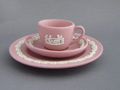 Wedgwood Pink Jasperware Cup, Saucer and Plate.