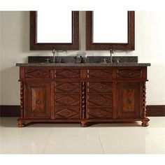 """Check out the James Martin Furniture 100-V72-BCH-TBR Continental 72"""" Double Vanity in Burnished Cherry with Tropical Brown Stone Top - Vanity Top…"""