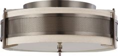 Nuvo Lighting 604437 Four Light Diesel Large Flush with Khaki Fabric ShadeCream Diffuser Hazel Bronze * Details on product can be viewed by clicking the VISIT button