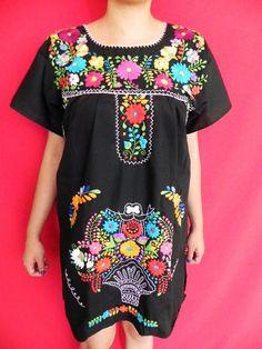 Mexican Black Mini Dress Fantastic Floral by madeintechnicolor