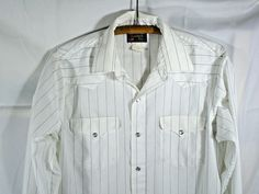 RUDDOCK BROS Shirt Mens Cowboy Long Sleeve Pearl Snap Med White Striped Western #RuddockBros #ButtonFront #Casual