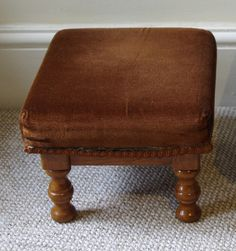 Before photo - small brown footstool