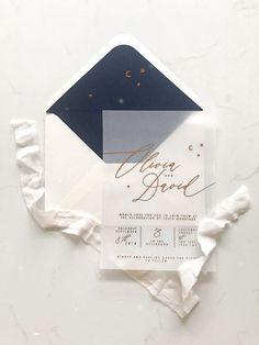 Wedding Program Modern white transparent wedding invitation with gold foil calligraphy, winter wedding ideas - Wedding Design Inspiration, Wedding Card Design, Wedding Designs, Wedding Cards, Inspiration Cards, Wedding Albums, Trendy Wedding, Perfect Wedding, Diy Wedding