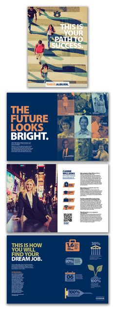 Brochure for prospective students highlighting Auburn University alumni and various graduate outcomes.