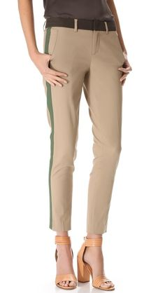 """Vince Tricolor Strapping Pants, lightweight stretch cotton twill, washable, 29"""", $225. These are awesome."""
