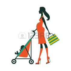 Chick fashion mom shopping with her baby in a stroller. Vector illustration