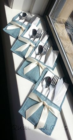 Burlap and Satin Chic Silverware Pocket  by QuiltandQuest on Etsy, $3.50