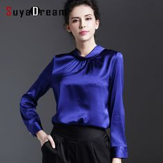 Real SILK blouse Women stand collar long sleeve Satin Silk Solid Blusas femininas Office lady STRETCH Plus size 2016 NEW shirt