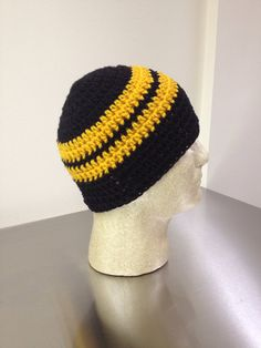 Skullcap Beanie Black and Gold by just4tdyCrochet on Etsy, $18.00