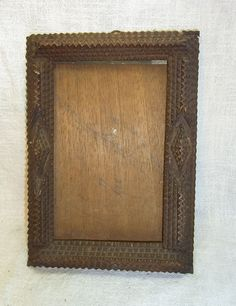 Antique German Carved Wood Tramp Art Picture Frame #BE