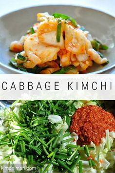 Korean kimchi made from green cabbage. This is a great alternative when you can't find korean or napa cabbage. Great Kimchi for beginners. Korean Kimchi, Korean Side Dishes, Pickled Cabbage, Asian Recipes, Ethnic Recipes, Korean Food, Vietnamese Food, Fermented Foods, The Best