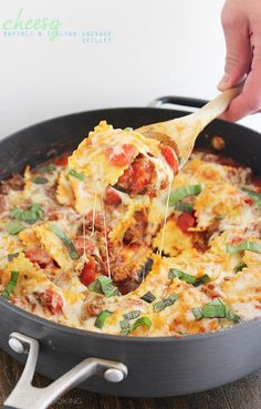 Cheesy Ravioli and Italian Sausage Skillet Recipe