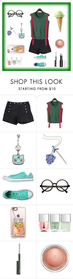 """""""Bulbasaur"""" by accio1976 ❤ liked on Polyvore featuring Azzaro, Chicnova Fashion, Hot Topic, Nintendo, Converse, Casetify, Nails Inc., Clinique and MAC Cosmetics"""