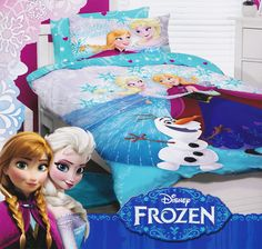 Princess Elsa, Anna and Olaf the snowman are surrounded by snowflakes in this beautiful Frozen Glitter Quilt Cover Set from Kids Bedding Dreams. Ideal for a girls bedroom or anyone that loves Disney's Frozen. Frozen Bedding, Disney Quilt, Frozen Room, Single Quilt, Disney Animated Movies, Quilt Cover Sets, Bedroom Accessories, Snow Queen, Disney Animation
