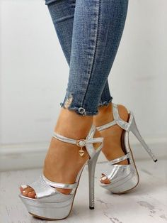 Sexy Legs And Heels, Hot High Heels, Peep Toe Shoes, Shoes Heels, Gorgeous Feet, Gorgeous Women, Silver Shoes, Ankle Strap Sandals, Stiletto Heels