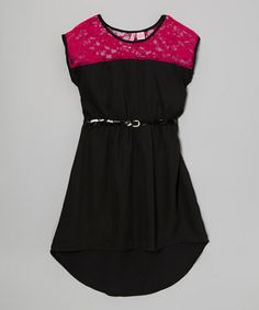 Take a look at this Black Lace Hi-Low Dress - Girls by Apollo on #zulily today!