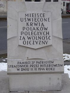 """A """"Tchorek plaque"""" near 84 Aleja Solidarności in Warsaw - the Germans murdered 27 people here on 11th November 1944, after the capitulation of the Warsaw Uprising...."""