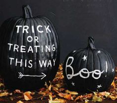 Chalkboard pumpkins  Chalkboard paint is so fun and easy. The black makes it a great fit for Halloween naturally. You can let your kids write messages to trick-or-treaters. And the best part is, you can change it up whenever you want.  Tutorial via Rachel Ray