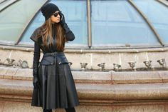 30 On-Point, Cold-Weather Looks From Moscow  #refinery29  http://www.refinery29.com/moscow-street-style#slide-4  Black leather layers done right.