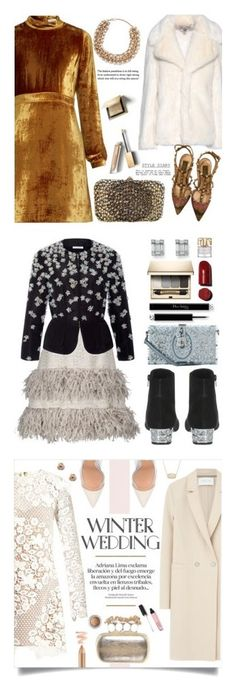 """""""Winners for True Romance: Winter Wedding"""" by polyvore ❤ liked on Polyvore featuring A.L.C., STELLA McCARTNEY, Valentino, Burberry, Pumps, velvet, fauxfur, winterwedding, EmbellishedClutches and Lela Rose"""