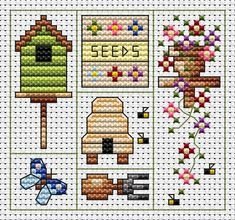 Cross-stitch Garden Delights ... no color chart available, just use the pattern chart as your color guide..