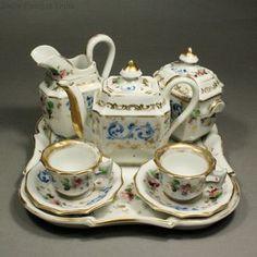 Antique dolls porcelain coffee  tea service  , Antique Doll french dinette service miniature , Puppen zubehor aus porzellan