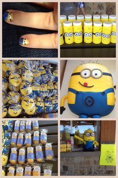 Minion painted nails, minion bubble party favors, cake, decorated cookies, twinkies, piñata, goodie bags. Minion party!!