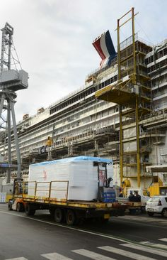 In the following montage - prefabricated staterooms are being installed throughout the vessel, the largest and most innovative ship Carnival has constructed