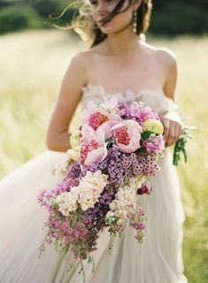 Romantic lavender & pink cascade summer #wedding bouquet x