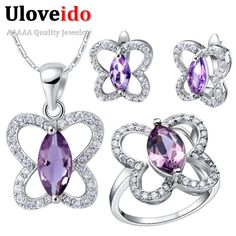 Find More Jewelry Sets Information about Uloveido Wedding Jewelry Sets for Bride Silver Plated Purple Crystal Jewelry Set Butterfly Cheap Jewellery Set Wholesale T288,High Quality earrings fringe,China chain puzzle Suppliers, Cheap chain fabric from Uloveido Official Store on Aliexpress.com