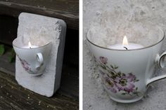 Tea cup embedded in plaster/cement? and a candle put inside. Ljusstake - av en kaffekopp