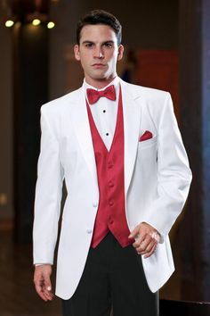 Custom Made White Groom Tuxedo Wedding Suits for Men Evening Party Groomsmen Attire Coat+Pants+Red VestSlim Fit trajes de hombre White Wedding Suits For Men, White Tuxedo Wedding, Groom Tuxedo Wedding, Red And White Weddings, White Suits, Red Wedding, Wedding Tuxedos, Red And White Prom Tux, Summer Wedding