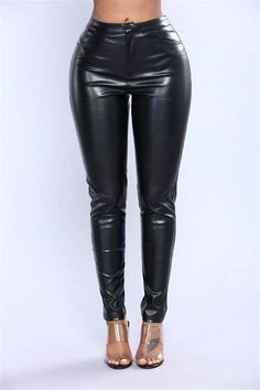 Available In BlackHigh- riseModerate StretchFaux Leather PantsSkinny LegFront Zipper ClosureFaux Back Inch InseamSelf: Polyurethane Lining: Polyester Black Leather Pants, Rock Style, Flare Pants, Skinny Legs, Cute Fashion, Collection, Night, Google Search, Outfits