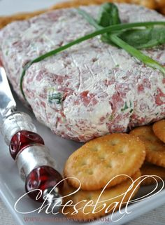 Cheeseball- cream cheese, beef, green onion and Italian dressing. Easy and delicious!