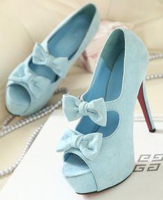 Light Blue Bow Heels