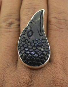 Raven's head ring, sterling and carved and dyed bone