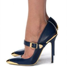 Women's Style Pumps and D'orsay Heels Winter Outfits 2017 Womens Fashion Navy and Gold Pointy Toe Stiletto Heels Metal Stiletto Heels Vintage Mary Jane Pumps Christmas Outfit Women Cute Outfits For Women Womens Chic Fashion Street Style Outfits For Work, Formal Event, Ball | FSJ